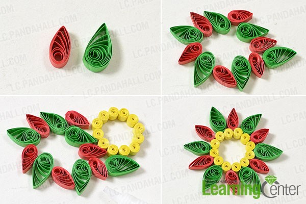 Instructions on how to make quilling paper flower pendent necklace add green quilling paper petals mightylinksfo