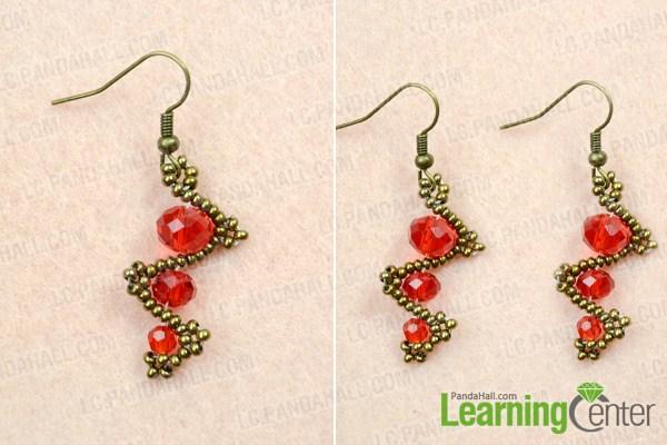 Finish making red beaded earrings
