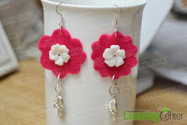 finished felt flower earrings