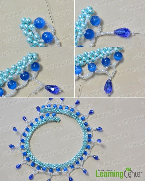 Add blue glass drops ornaments