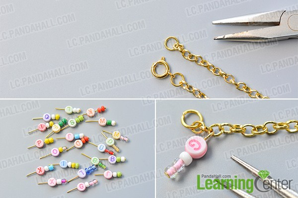 make the first part of the chain and alphabet letter beads bracelet