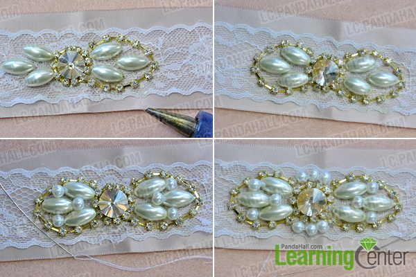 make the second part of the ribbon waist belt with pearl beads