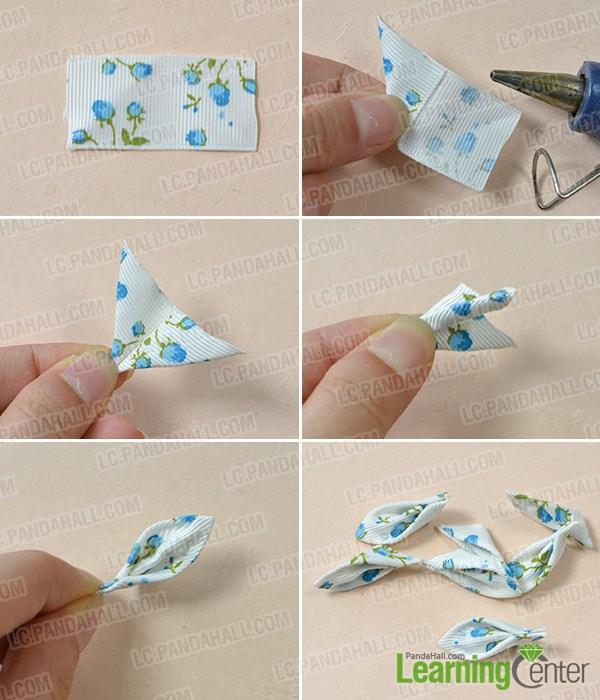 make a blue ribbon flower