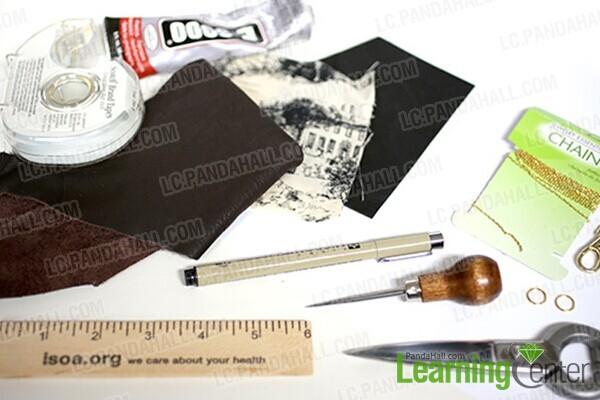 materials for mini book necklace DIY