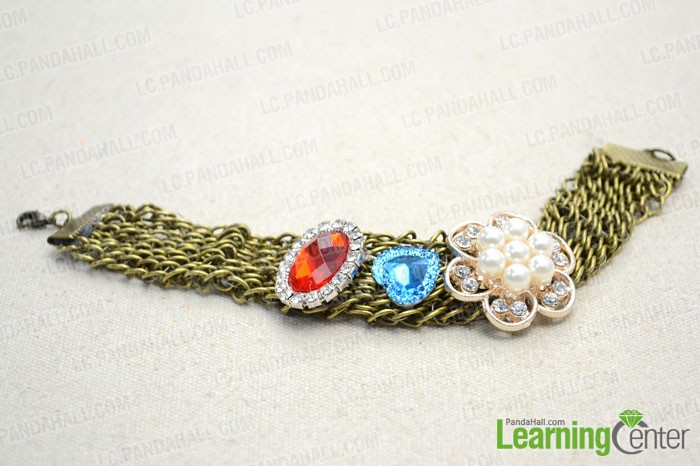 finished  Chain Bracelet Decorated with Cabochons