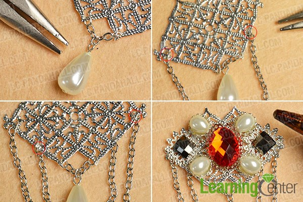 Add bead patterns and chains to the filigree brooch finding
