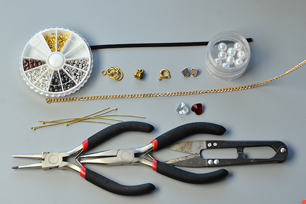 Tools and materials needed to make the suede cord bracelets: