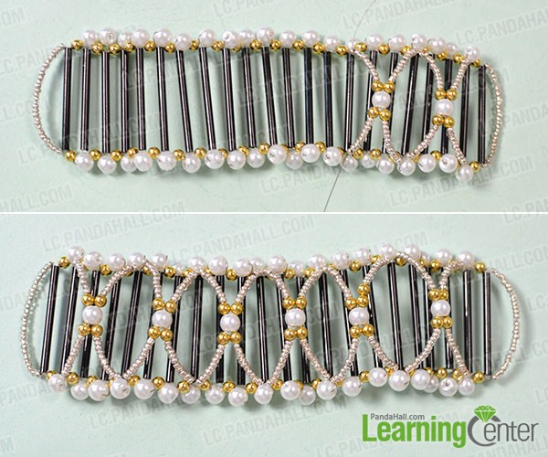 make the second layer of the wide bead bangle bracelet