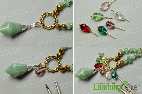 make the third part of the green gemstone bead necklace