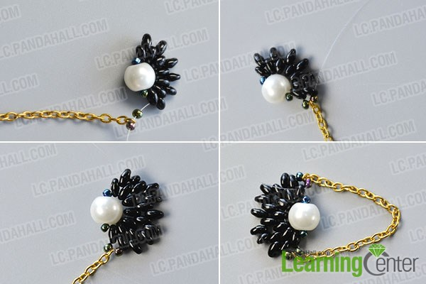Add more seed beads and golden chain