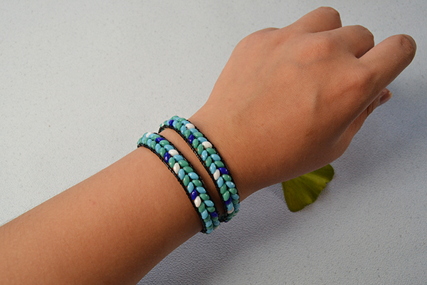 Here is the final look of the leather wrap beaded bracelet!