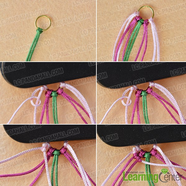 make the first part of the thread braided earrings
