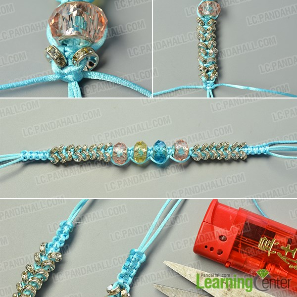 make the fourth part of the nylon thread braided bracelet