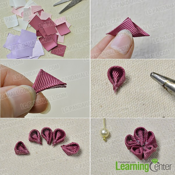 make the main part of the ribbon floral drop earrings