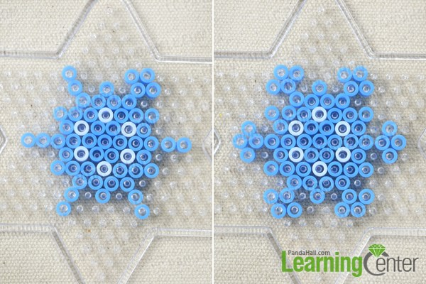 Make the branches of the perler bead snowflake patterns