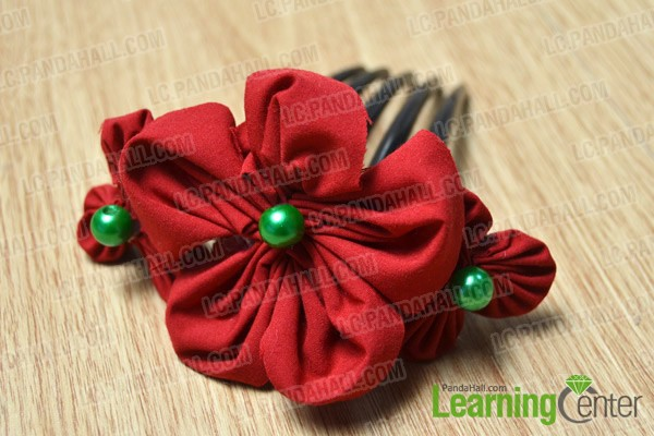 finished fabric flower hair comb