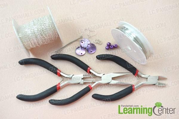 Materials needed in DIY shell chandelier earrings
