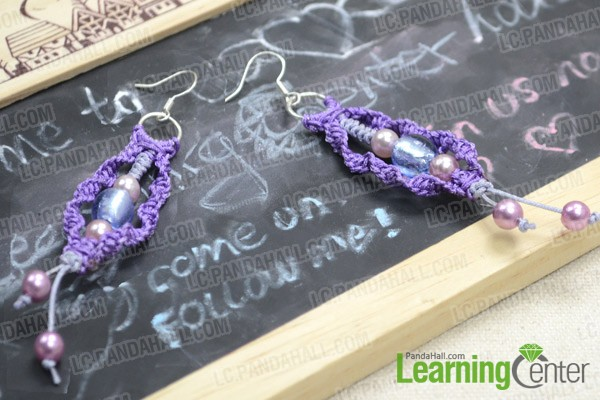 So the finished macramé earrings look like this: