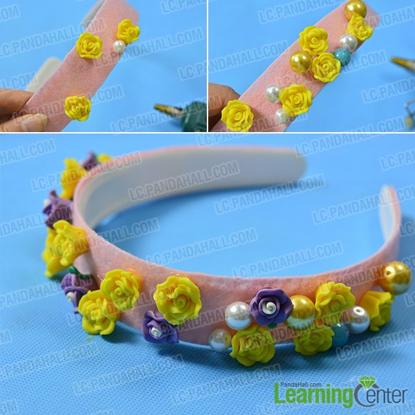 Add colorful resin flower beads