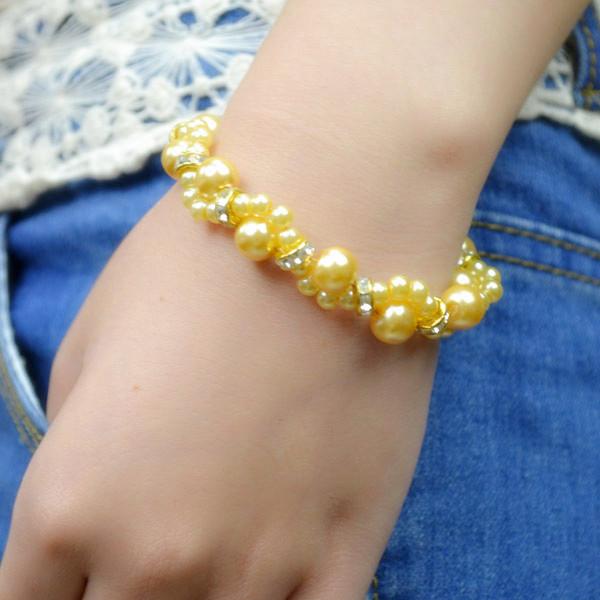 the final look of diy wedding bracelet with pearls