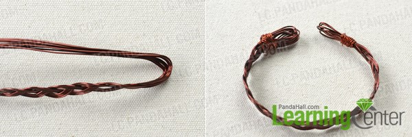 Finish the woven copper wire bracelet tutorial