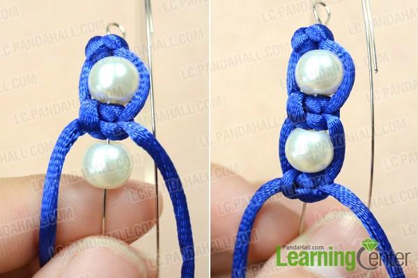 Make basic pearl macrame bracelet pattern