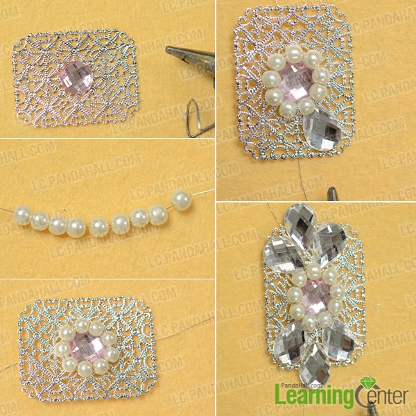 attach beads onto a rectangle filigree