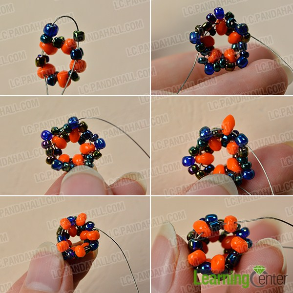 make the second part of the orange 2-hole seed bead bracelet