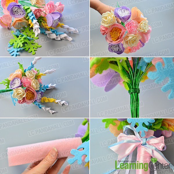 make the rest part of the felt and ribbon wedding bridal flower bouquet
