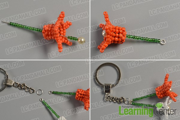Finish this flower beaded key chain