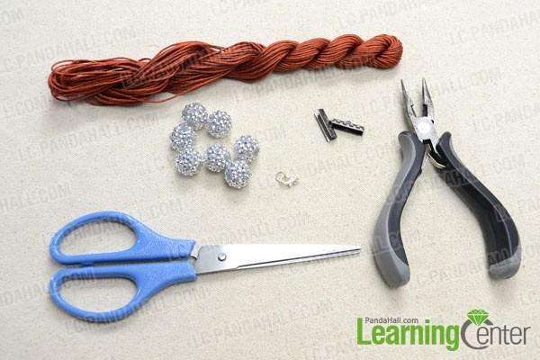 Instructions on Making a 12-string Macrame Bracelet with Resin Rhinestone Beads- Pandahall.com