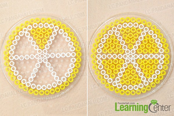 Make basic lemon perler bead coasters