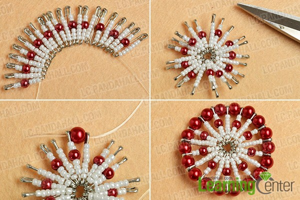 make the first part of the red pearl and white seed bead pendant necklace