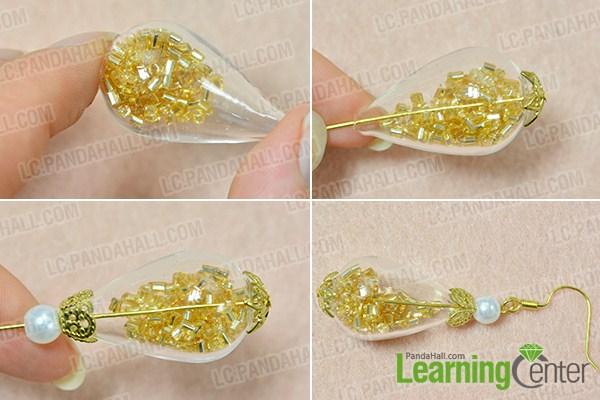 make the glass bead earrings