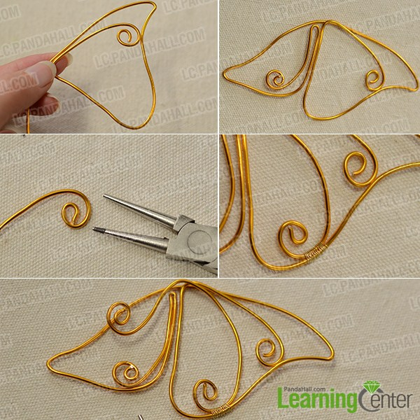 make the main part of the golden wire wrapped spirit earring