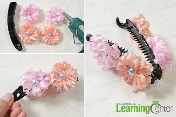 Easy steps on how to make ribbon flower hair clips pandahall finish the flower hair clip mightylinksfo