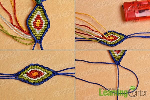 Make the thirteen part of the ethnic braided friendship bracelet