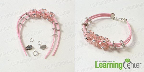 Finish the pink leather cord bracelet