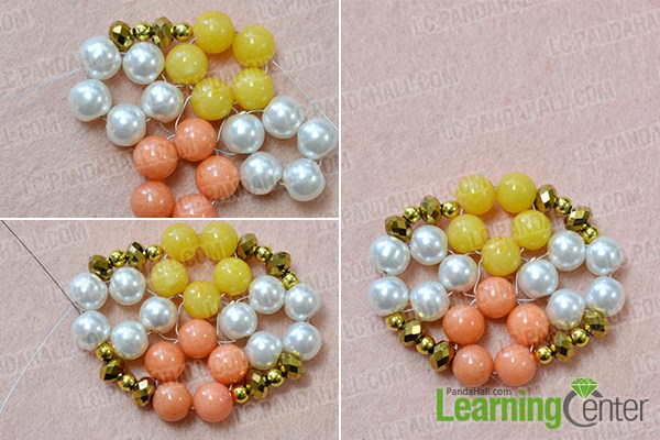 make the third part of the beaded flower and gold cord bracelet