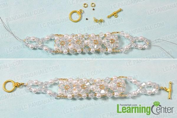 Finish the beaded flower bracelet