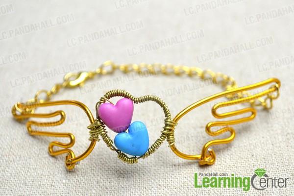 finish the beaded angel wings bracelet