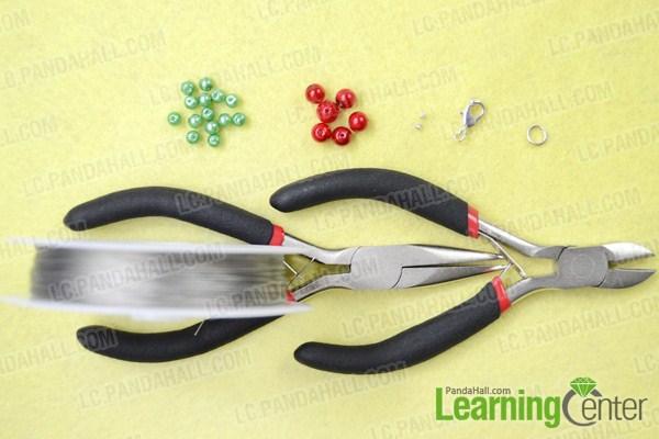 Materials on making beaded Christmas bracelets