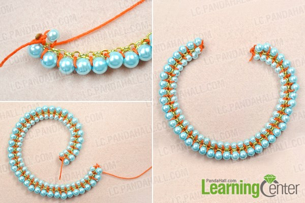 Make the second woven pearl chain for the necklace