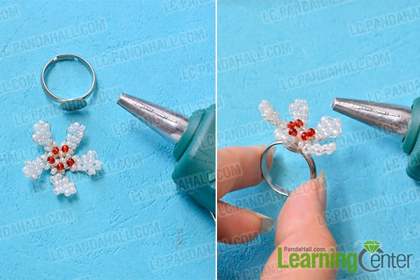 Finish the seed bead flower ring