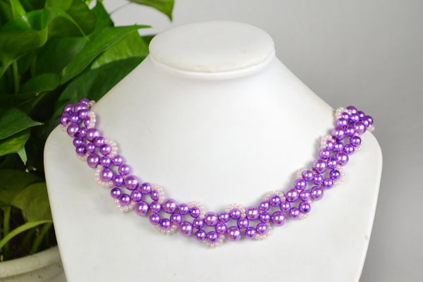 the final look of your own beautiful purple bead necklace