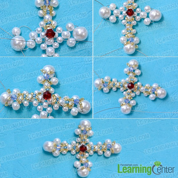 add golden tube beads, blue beads, red beads and seed beads