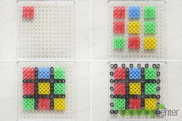 Make six sides for the perler bead cube