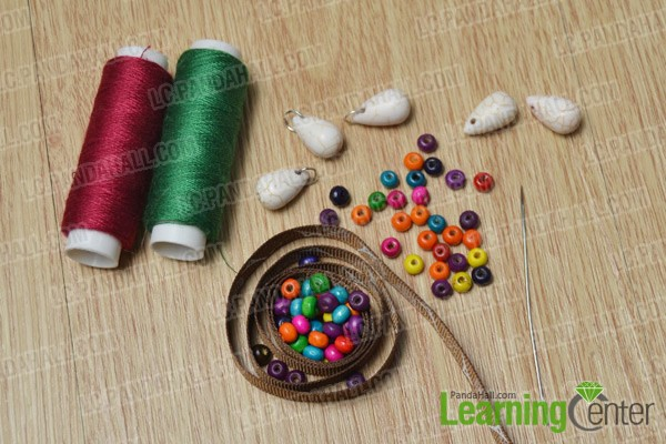 materials and tools for making an ethnic wood bead bracelet