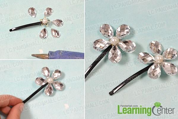 Add rhinestone flower on the hairclip base