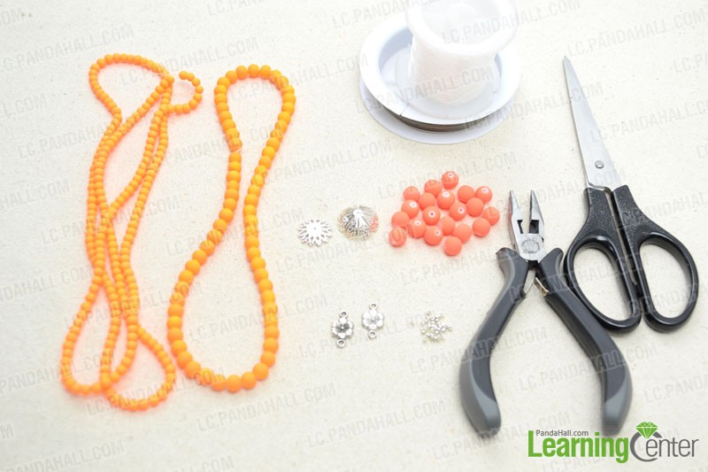 Supplies needed for the beaded tassel necklace